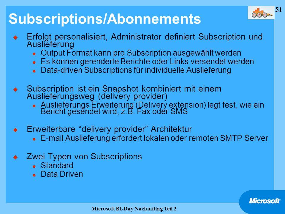 51 Microsoft BI-Day Nachmittag Teil 2 Subscriptions/Abonnements u Erfolgt personalisiert, Administrator definiert Subscription und Auslieferung l Outp