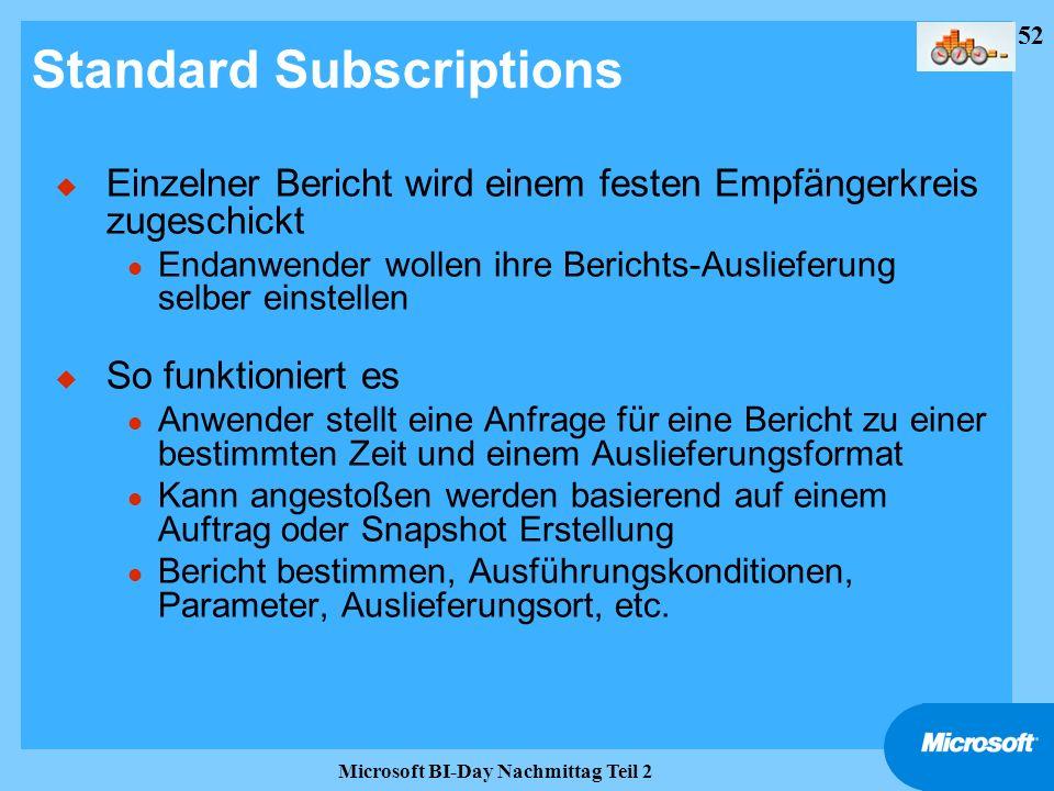 52 Microsoft BI-Day Nachmittag Teil 2 Standard Subscriptions u Einzelner Bericht wird einem festen Empfängerkreis zugeschickt l Endanwender wollen ihr