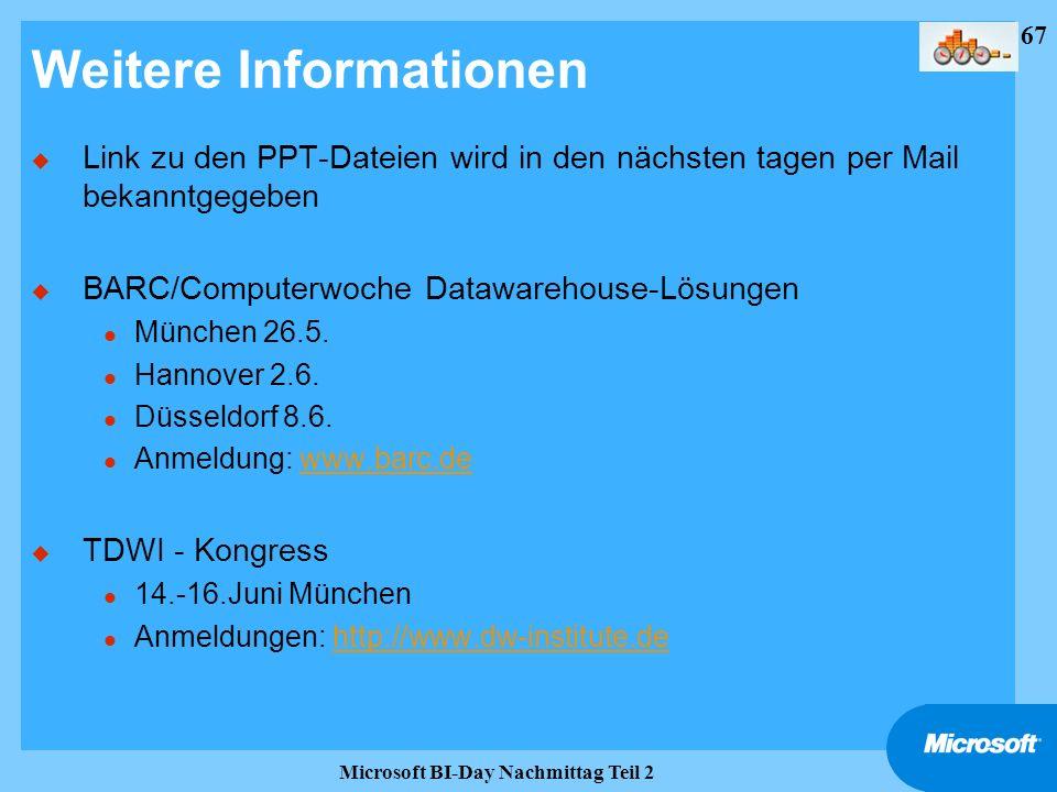 67 Microsoft BI-Day Nachmittag Teil 2 Weitere Informationen u Link zu den PPT-Dateien wird in den nächsten tagen per Mail bekanntgegeben u BARC/Comput