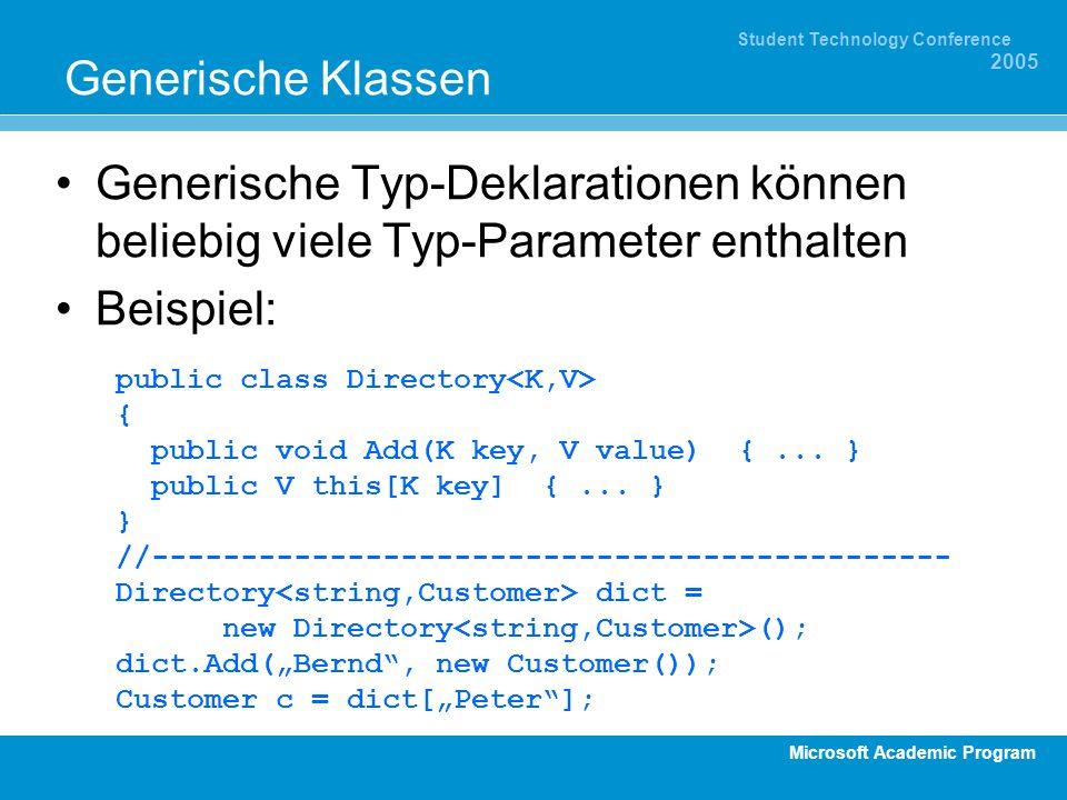 Microsoft Academic Program Student Technology Conference 2005 Generische Klassen Generische Typ-Deklarationen können beliebig viele Typ-Parameter enth