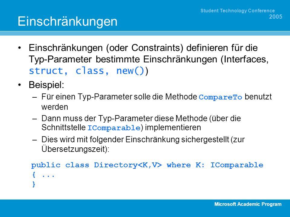 Microsoft Academic Program Student Technology Conference 2005 Einschränkungen Einschränkungen (oder Constraints) definieren für die Typ-Parameter best