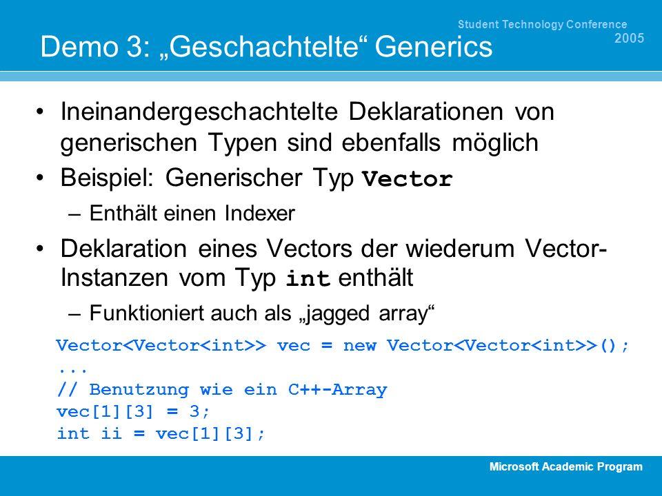 Microsoft Academic Program Student Technology Conference 2005 Demo 3: Geschachtelte Generics Ineinandergeschachtelte Deklarationen von generischen Typ