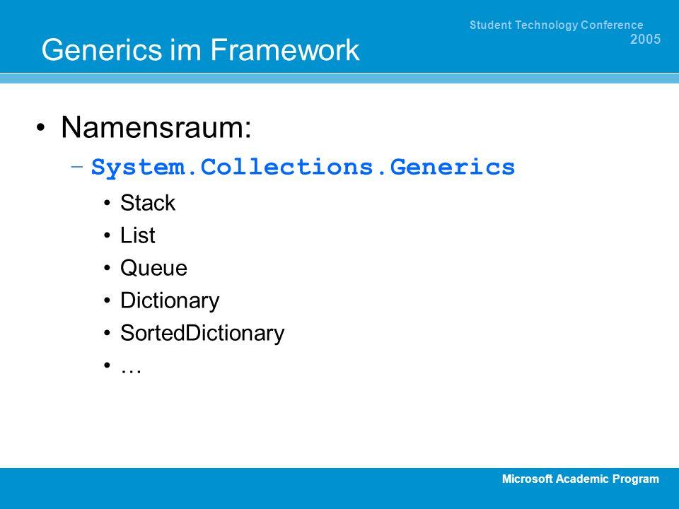 Microsoft Academic Program Student Technology Conference 2005 Generics im Framework Namensraum: –System.Collections.Generics Stack List Queue Dictiona