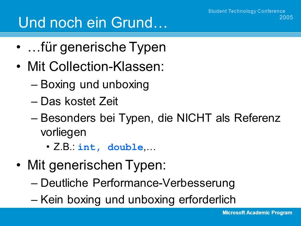 Microsoft Academic Program Student Technology Conference 2005 Und noch ein Grund… …für generische Typen Mit Collection-Klassen: –Boxing und unboxing –