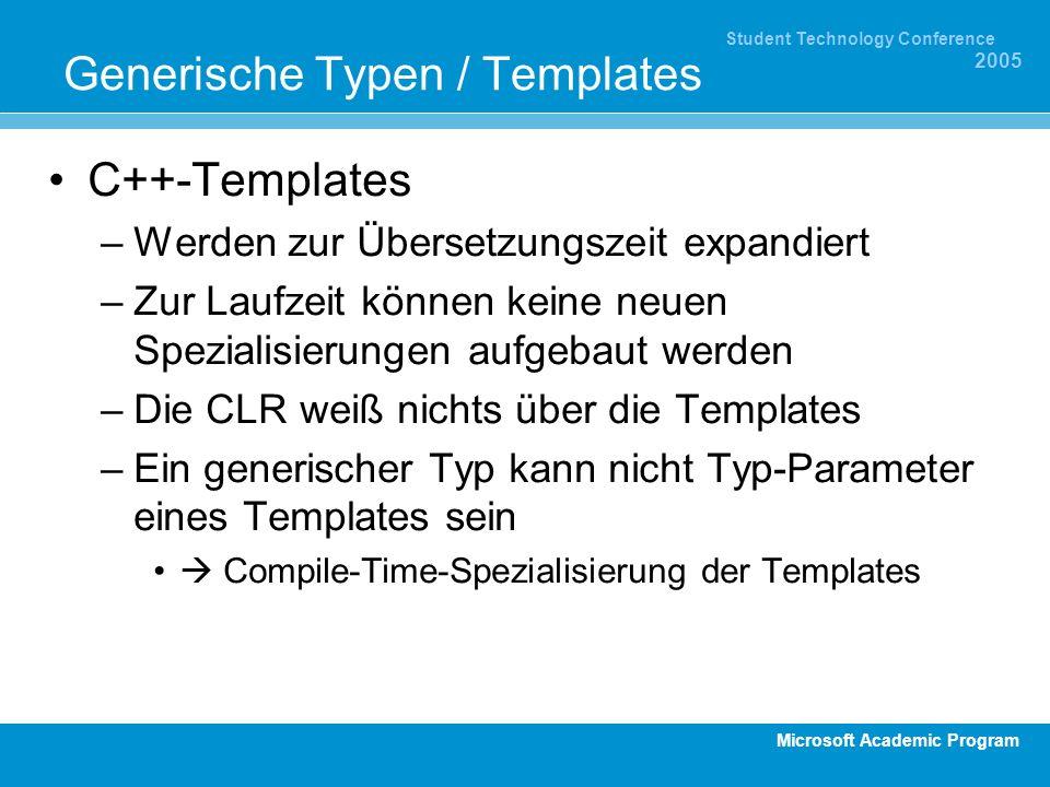 Microsoft Academic Program Student Technology Conference 2005 Generische Typen / Templates C++-Templates –Werden zur Übersetzungszeit expandiert –Zur