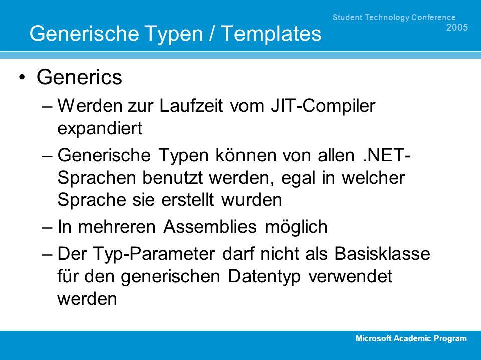 Microsoft Academic Program Student Technology Conference 2005 Generische Typen / Templates Generics –Werden zur Laufzeit vom JIT-Compiler expandiert –
