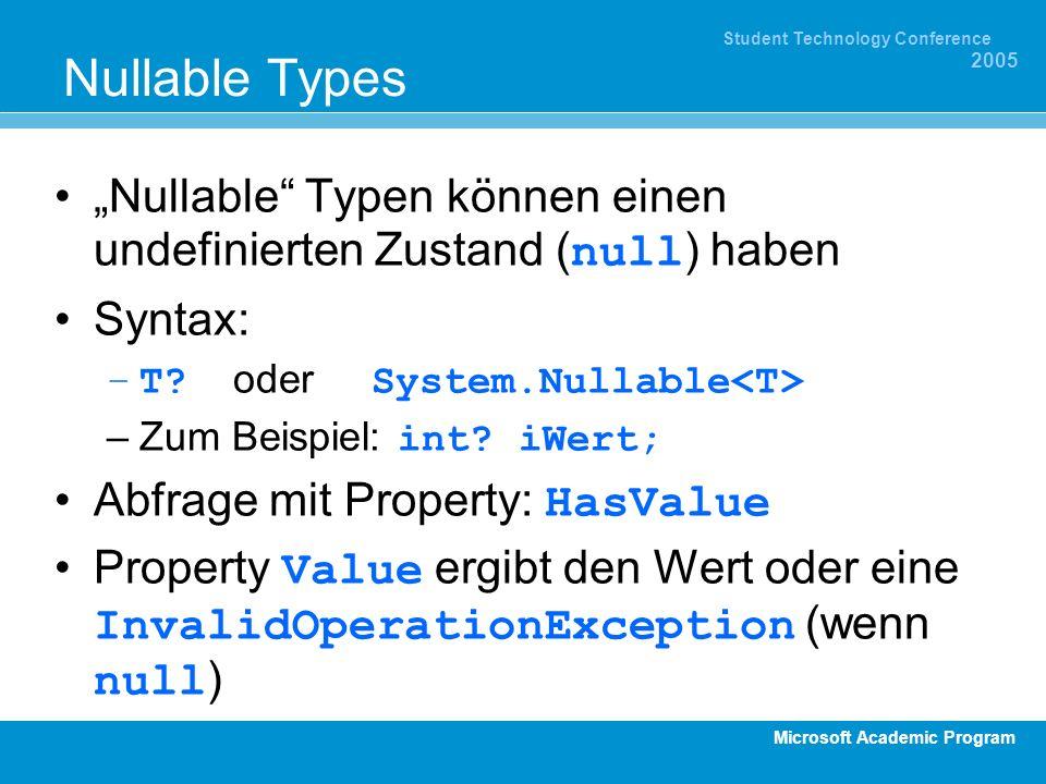 Microsoft Academic Program Student Technology Conference 2005 Nullable Types Nullable Typen können einen undefinierten Zustand ( null ) haben Syntax: