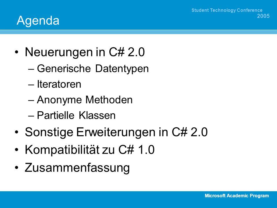 Microsoft Academic Program Student Technology Conference 2005 Agenda Neuerungen in C# 2.0 –Generische Datentypen –Iteratoren –Anonyme Methoden –Partie