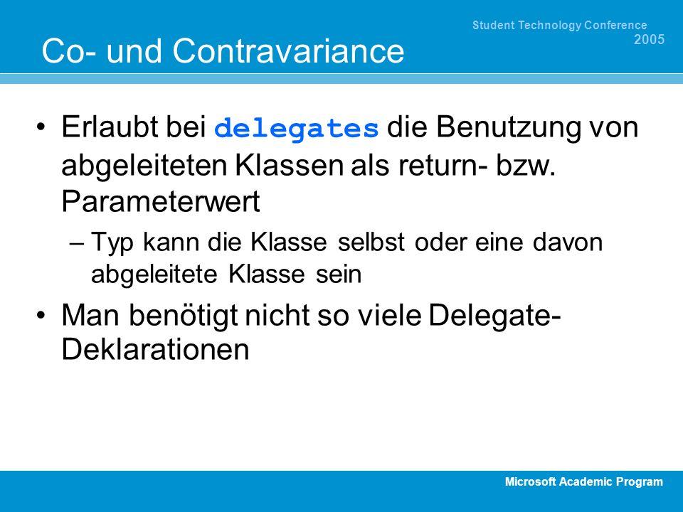 Microsoft Academic Program Student Technology Conference 2005 Co- und Contravariance Erlaubt bei delegates die Benutzung von abgeleiteten Klassen als