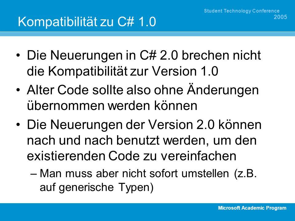 Microsoft Academic Program Student Technology Conference 2005 Kompatibilität zu C# 1.0 Die Neuerungen in C# 2.0 brechen nicht die Kompatibilität zur V