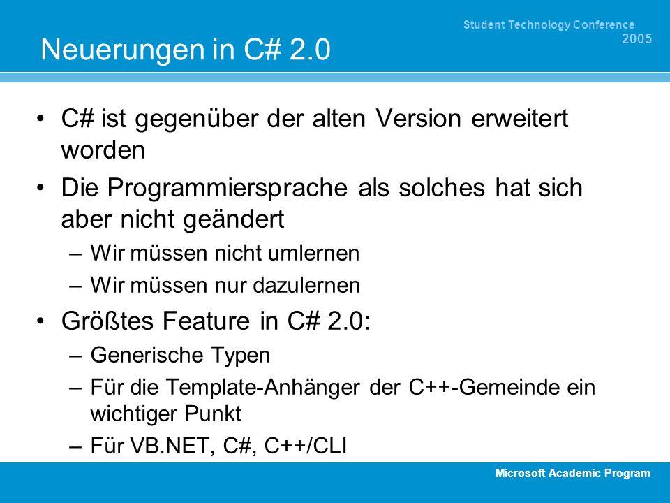 Microsoft Academic Program Student Technology Conference 2005 Neuerungen in C# 2.0 C# ist gegenüber der alten Version erweitert worden Die Programmier