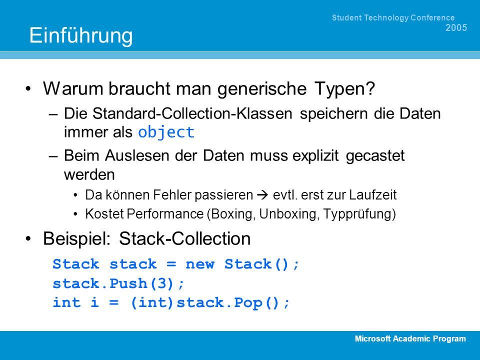 Microsoft Academic Program Student Technology Conference 2005 Einführung Warum braucht man generische Typen? –Die Standard-Collection-Klassen speicher