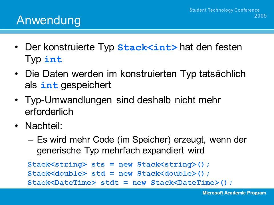 Microsoft Academic Program Student Technology Conference 2005 Anwendung Der konstruierte Typ Stack hat den festen Typ int Die Daten werden im konstrui