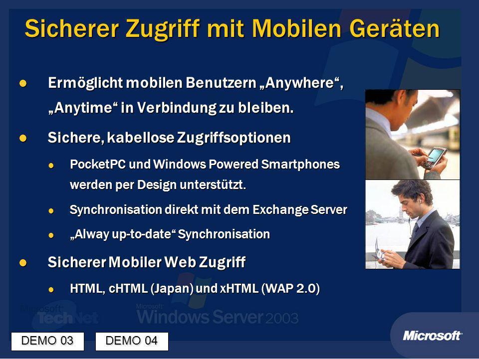 Sicherer Zugriff mit Mobilen Geräten Ermöglicht mobilen Benutzern Anywhere, Anytime in Verbindung zu bleiben.