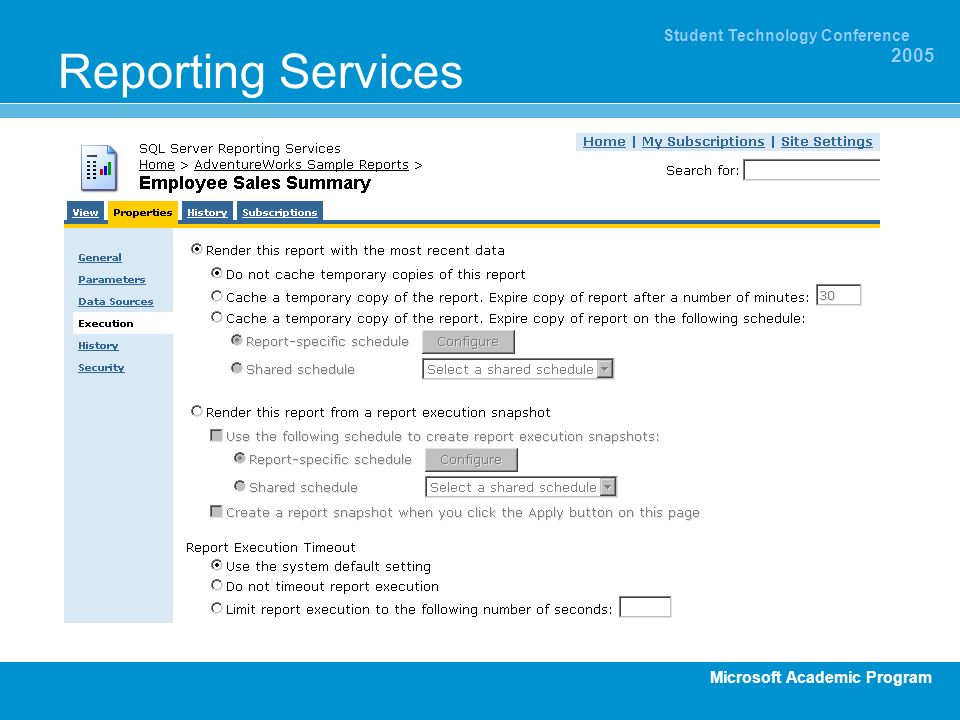 Microsoft Academic Program Student Technology Conference 2005 Reporting Services