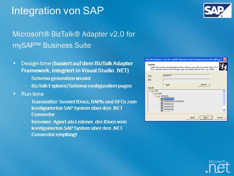 Integration von SAP Microsoft® BizTalk® Adapter v2.0 for mySAP Business Suite Design-time (basiert auf dem BizTalk Adapter Framework, integriert in Vi