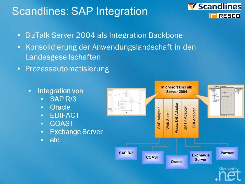 Scandlines: SAP Integration BizTalk Server 2004 als Integration Backbone Konsolidierung der Anwendungslandschaft in den Landesgesellschaften Prozessau