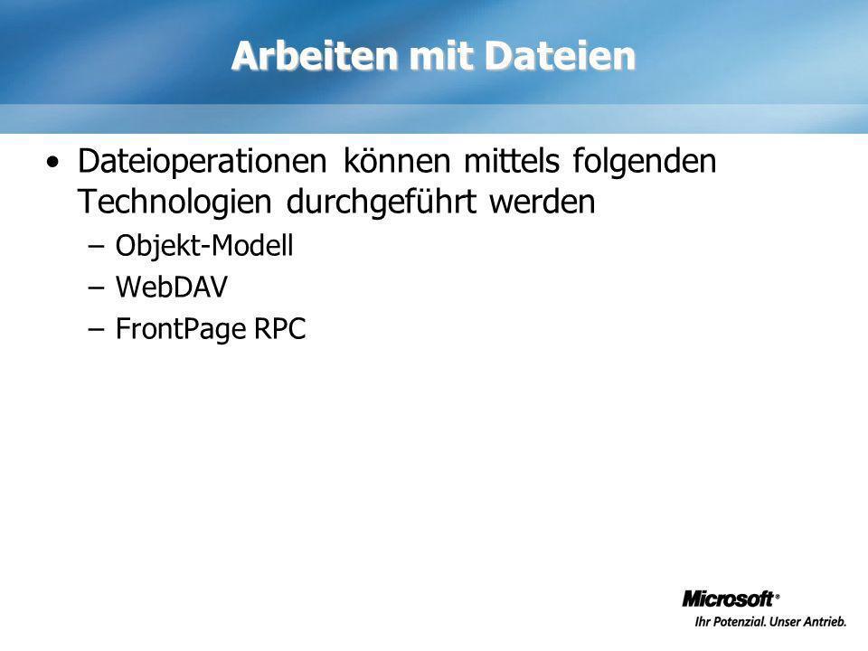 Arbeiten mit Dateien Dateioperationen können mittels folgenden Technologien durchgeführt werden –Objekt-Modell –WebDAV –FrontPage RPC