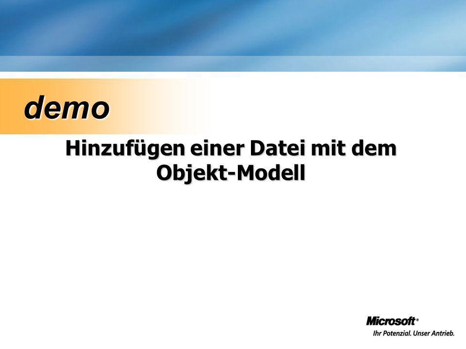 Hinzufügen einer Datei mit dem Objekt-Modell demo demo