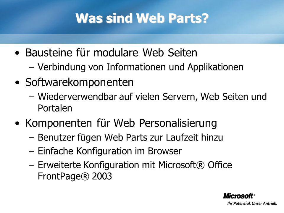 Was sind Web Parts.