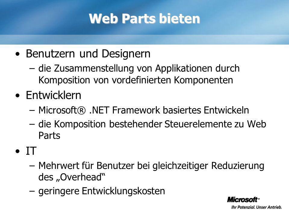 Web Parts bieten Benutzern und Designern –die Zusammenstellung von Applikationen durch Komposition von vordefinierten Komponenten Entwicklern –Microso