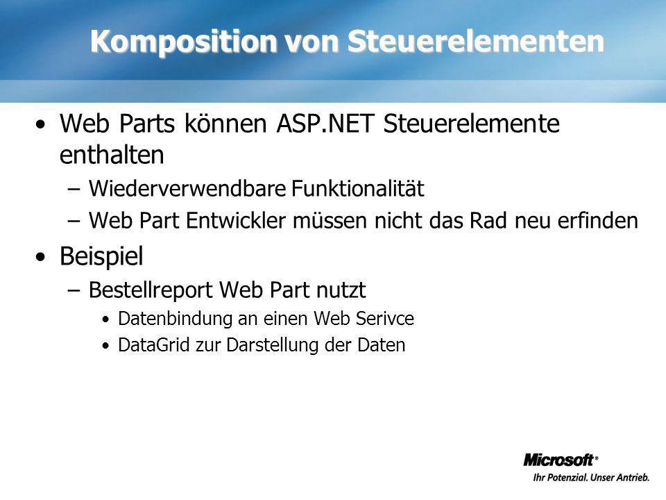 Komposition von Steuerelementen Web Parts können ASP.NET Steuerelemente enthalten –Wiederverwendbare Funktionalität –Web Part Entwickler müssen nicht