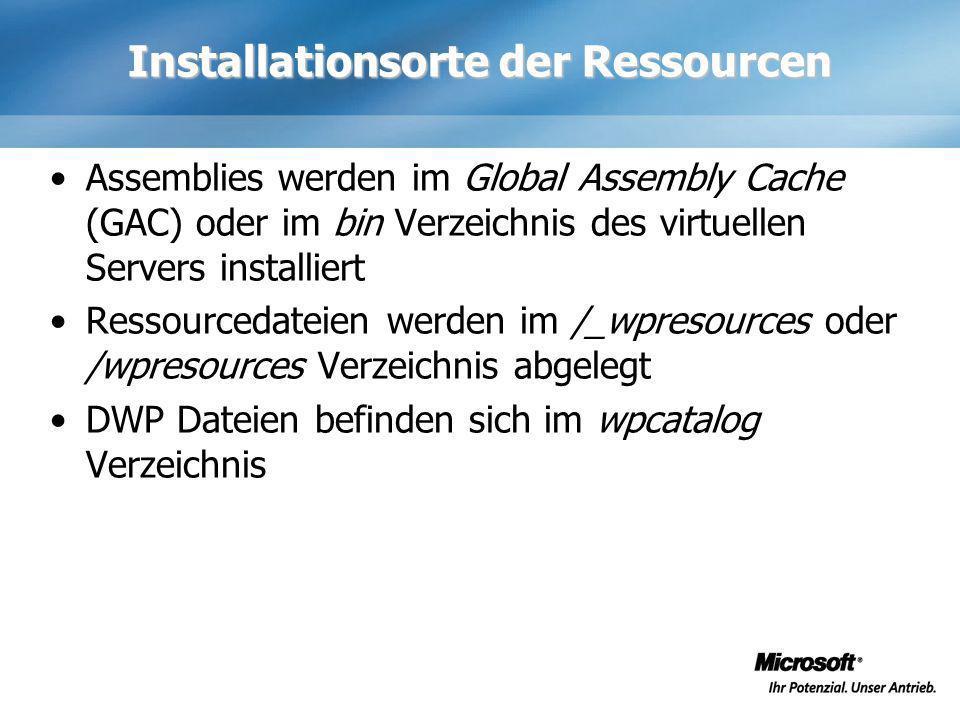 Installationsorte der Ressourcen Assemblies werden im Global Assembly Cache (GAC) oder im bin Verzeichnis des virtuellen Servers installiert Ressource