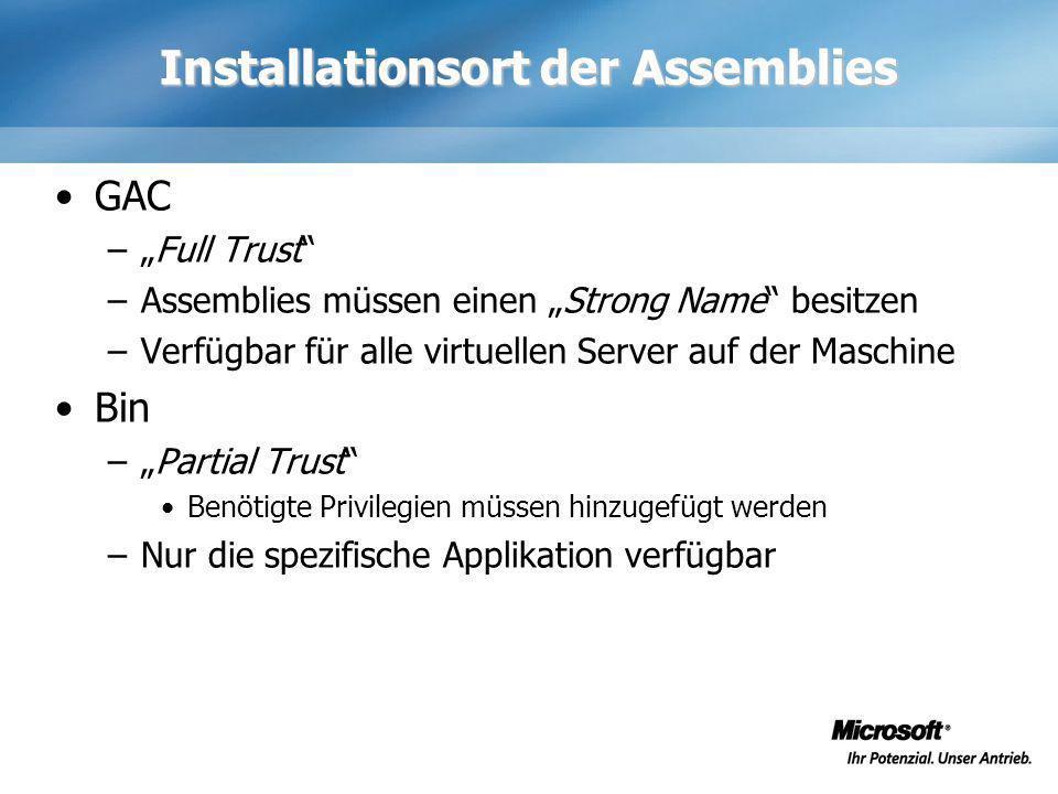 Installationsort der Assemblies GAC –Full Trust –Assemblies müssen einen Strong Name besitzen –Verfügbar für alle virtuellen Server auf der Maschine B