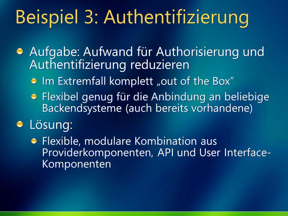 Beispiel 3: Authentifizierung Aufgabe: Aufwand für Authorisierung und Authentifizierung reduzieren Im Extremfall komplett out of the Box Flexibel genu