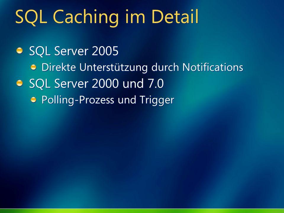 SQL Caching im Detail SQL Server 2005 Direkte Unterstützung durch Notifications SQL Server 2000 und 7.0 Polling-Prozess und Trigger SQL Server 2005 Di