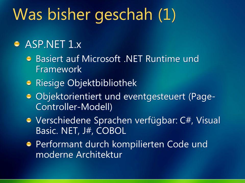 Was bisher geschah (1) ASP.NET 1.x Basiert auf Microsoft.NET Runtime und Framework Riesige Objektbibliothek Objektorientiert und eventgesteuert (Page-