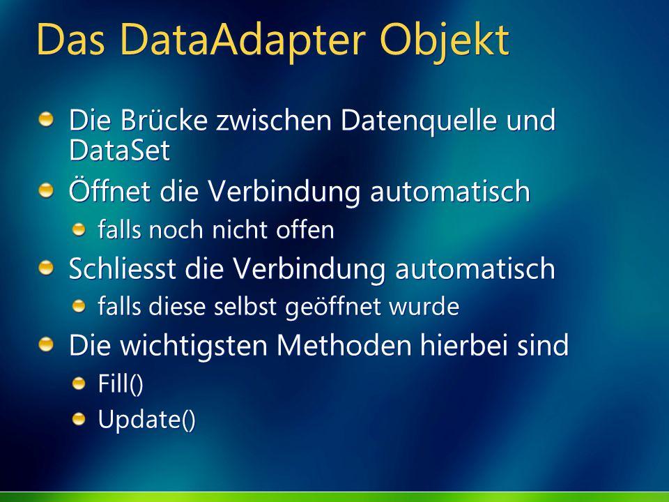 Das DataAdapter Objekt Die Brücke zwischen Datenquelle und DataSet Öffnet die Verbindung automatisch falls noch nicht offen Schliesst die Verbindung a