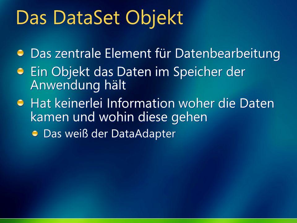 Das DataSet Objekt Das zentrale Element für Datenbearbeitung Ein Objekt das Daten im Speicher der Anwendung hält Hat keinerlei Information woher die D