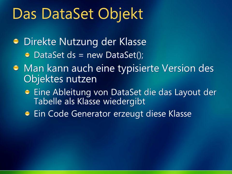 Das DataSet Objekt Direkte Nutzung der Klasse DataSet ds = new DataSet(); Man kann auch eine typisierte Version des Objektes nutzen Eine Ableitung von
