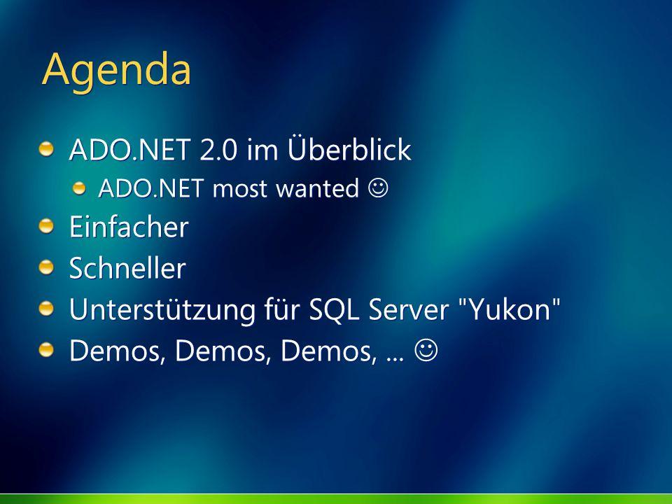 Agenda ADO.NET 2.0 im Überblick ADO.NET most wanted Einfacher Schneller Unterstützung für SQL Server