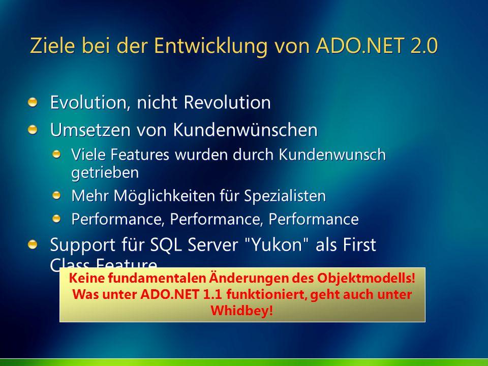 Ziele bei der Entwicklung von ADO.NET 2.0 Evolution, nicht Revolution Umsetzen von Kundenwünschen Viele Features wurden durch Kundenwunsch getrieben M