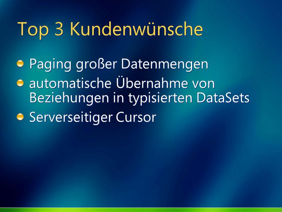 Top 3 Kundenwünsche Paging großer Datenmengen automatische Übernahme von Beziehungen in typisierten DataSets Serverseitiger Cursor Paging großer Daten