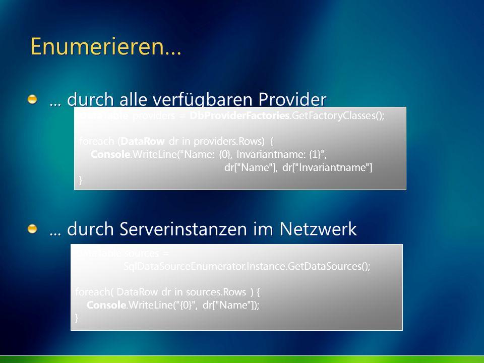 Enumerieren…... durch alle verfügbaren Provider... durch Serverinstanzen im Netzwerk... durch alle verfügbaren Provider... durch Serverinstanzen im Ne
