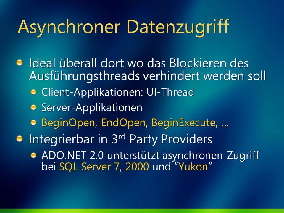 Asynchroner Datenzugriff Ideal überall dort wo das Blockieren des Ausführungsthreads verhindert werden soll Client-Applikationen: UI-Thread Server-App