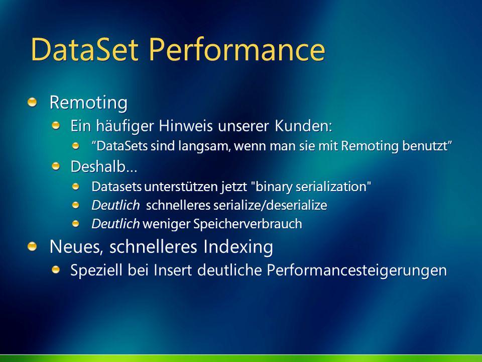 DataSet Performance Remoting Ein häufiger Hinweis unserer Kunden: DataSets sind langsam, wenn man sie mit Remoting benutzt Deshalb… Datasets unterstüt