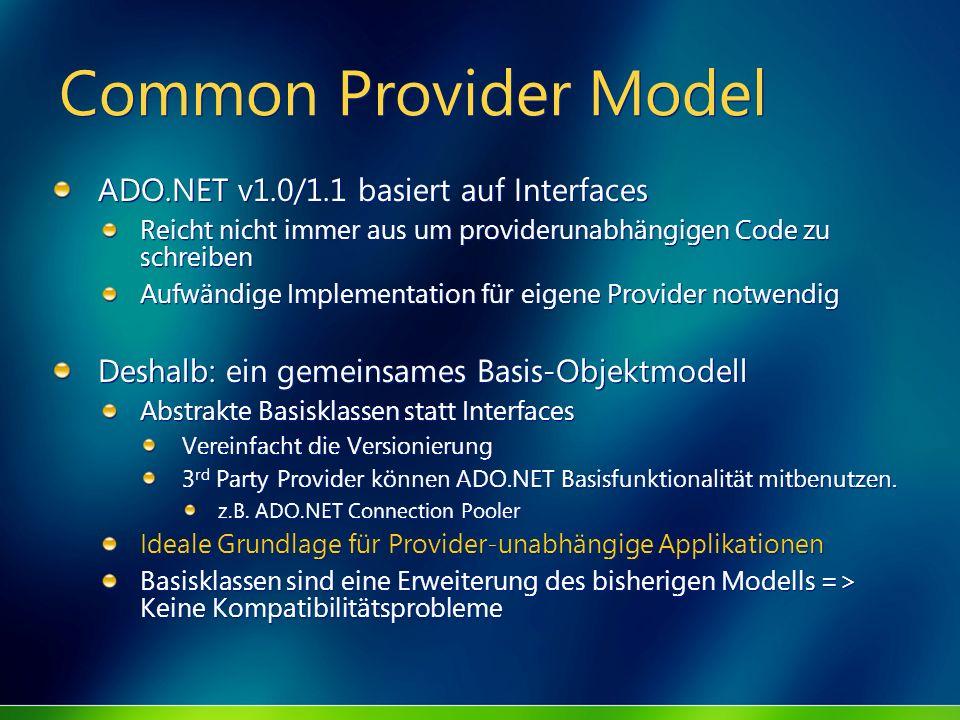 Common Provider Model ADO.NET v1.0/1.1 basiert auf Interfaces Reicht nicht immer aus um providerunabhängigen Code zu schreiben Aufwändige Implementati