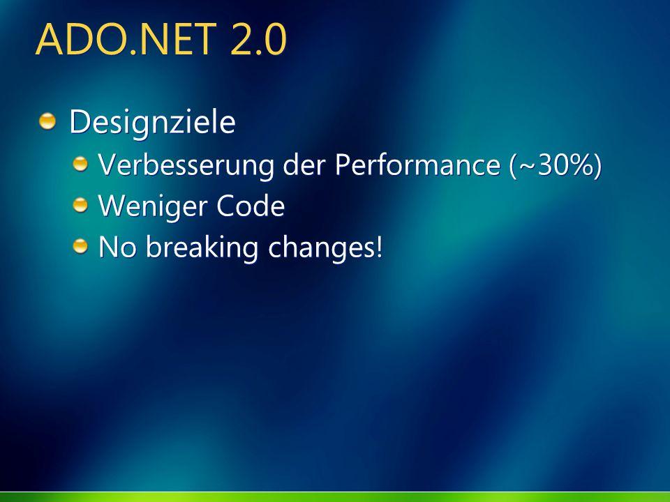 ADO.NET 2.0 Designziele Verbesserung der Performance (~30%) Weniger Code No breaking changes! Designziele Verbesserung der Performance (~30%) Weniger