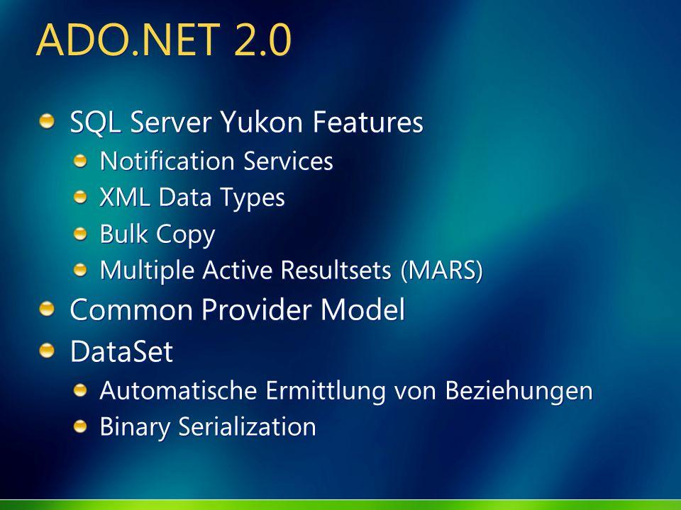 ADO.NET 2.0 SQL Server Yukon Features Notification Services XML Data Types Bulk Copy Multiple Active Resultsets (MARS) Common Provider Model DataSet A
