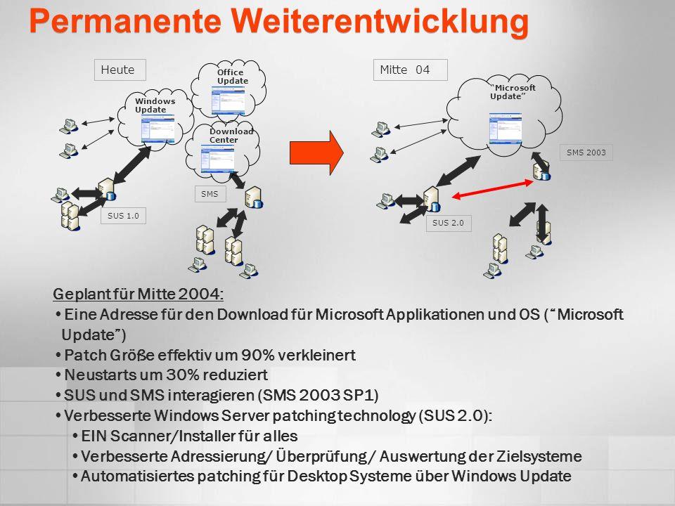 Permanente Weiterentwicklung HeuteMitte 04 Geplant für Mitte 2004: Eine Adresse für den Download für Microsoft Applikationen und OS (Microsoft Update)