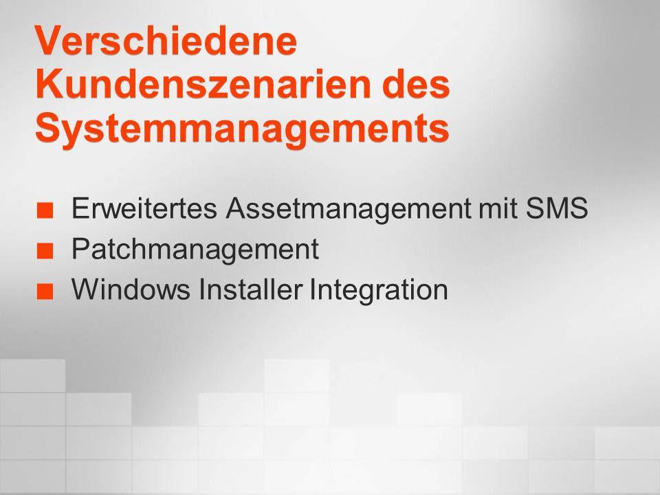 Permanente Weiterentwicklung HeuteMitte 04 Geplant für Mitte 2004: Eine Adresse für den Download für Microsoft Applikationen und OS (Microsoft Update) Patch Größe effektiv um 90% verkleinert Neustarts um 30% reduziert SUS und SMS interagieren (SMS 2003 SP1) Verbesserte Windows Server patching technology (SUS 2.0): EIN Scanner/Installer für alles Verbesserte Adressierung/ Überprüfung / Auswertung der Zielsysteme Automatisiertes patching für Desktop Systeme über Windows Update SUS 2.0 SMS 2003 Microsoft Update Windows Update SUS 1.0 SMS Download Center Office Update