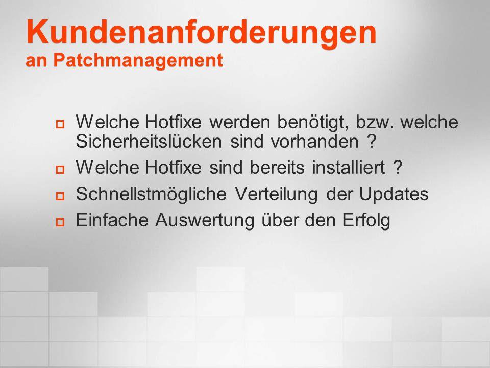 Kundenanforderungen an Patchmanagement Welche Hotfixe werden benötigt, bzw. welche Sicherheitslücken sind vorhanden ? Welche Hotfixe sind bereits inst