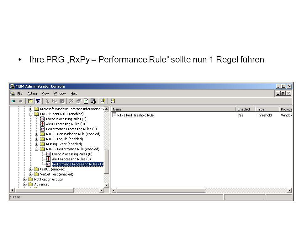 Ihre PRG RxPy – Performance Rule sollte nun 1 Regel führen