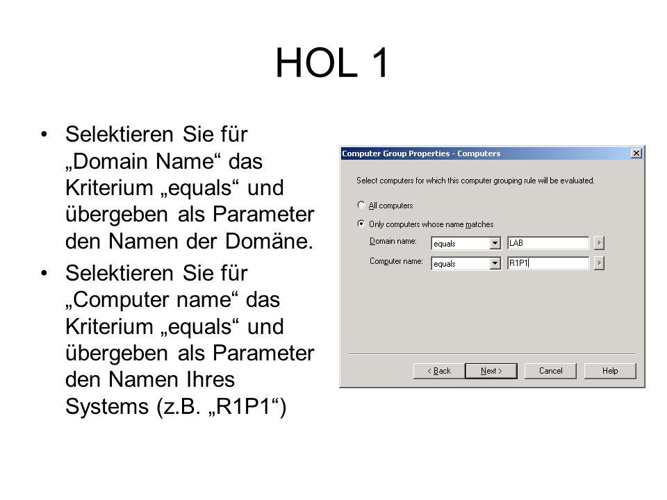 HOL 1 Selektieren Sie für Domain Name das Kriterium equals und übergeben als Parameter den Namen der Domäne.