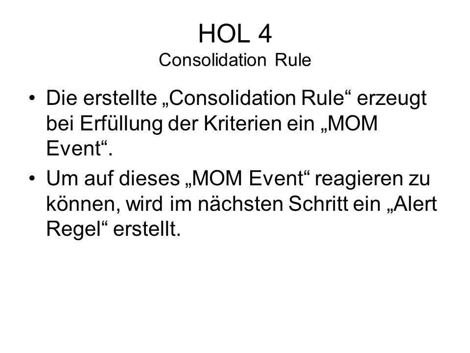 HOL 4 Consolidation Rule Die erstellte Consolidation Rule erzeugt bei Erfüllung der Kriterien ein MOM Event.