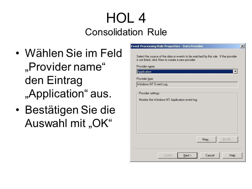 HOL 4 Consolidation Rule Wählen Sie im Feld Provider name den Eintrag Application aus.